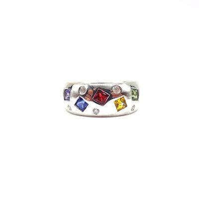 Michael Moses Vault, Newport Beach California Fine Jewelry Store, 18k White Gold Sapphire and Ruby Ring