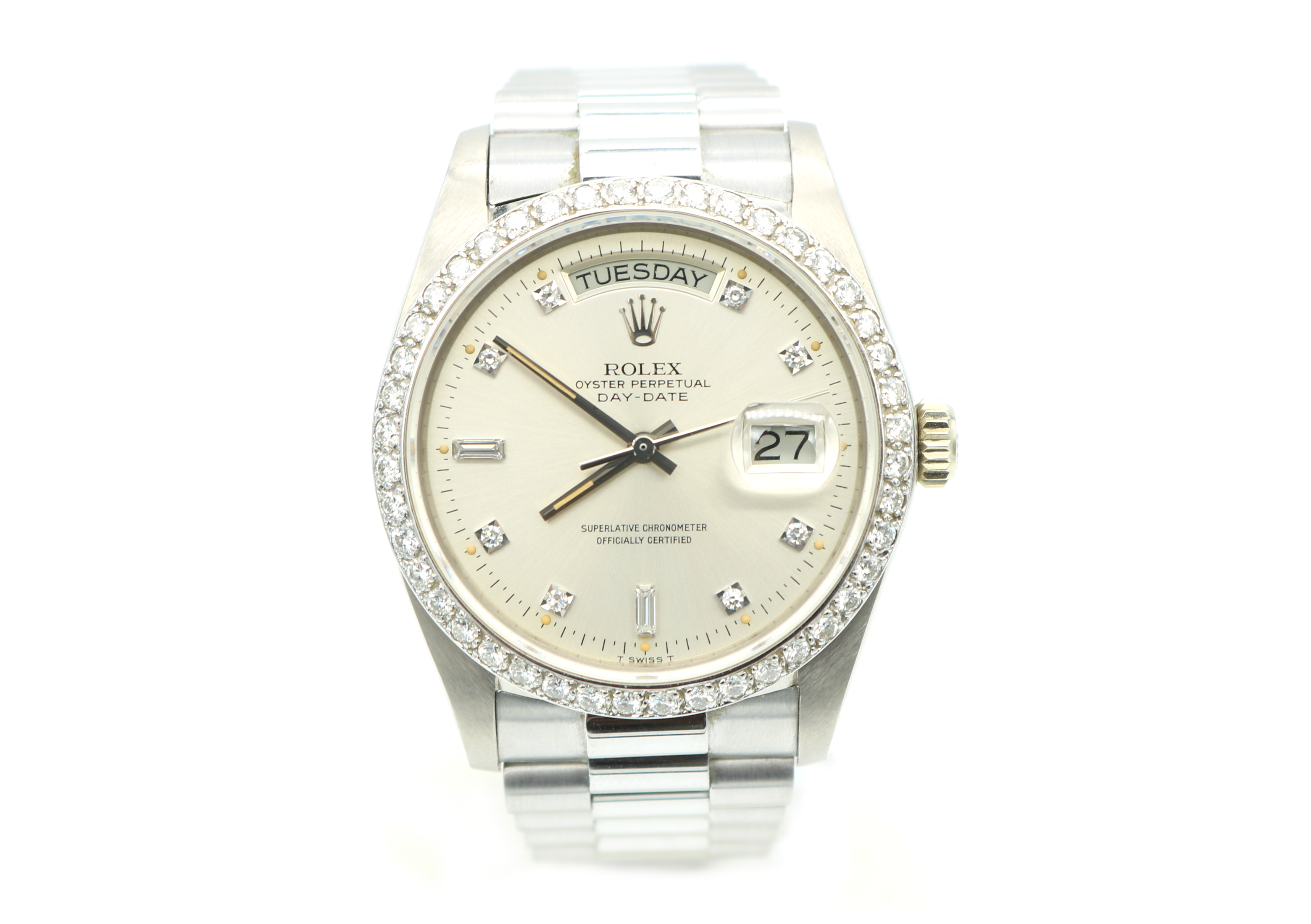 wristwatch gold hour white gents watch day clock hand ebay watches second dial o silver display diamonds baguette rolex collectors and markers itm at date diamond