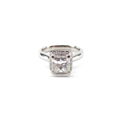 Michael Moses, Diamond Ring,Princess Cut, Platinum Mounting, Jewelry Store in Newport Beach California.