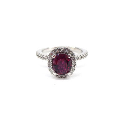 Michael Moses Vault,Newport Beach California Fine Jewelry Store, 14k White Gold Ruby/Diamond Ring,