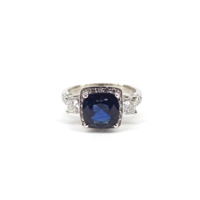 14k White Gold Sapphire/Diamond Ring, Michael Moses Vault, Newport Beach California Fine Jewelry Store