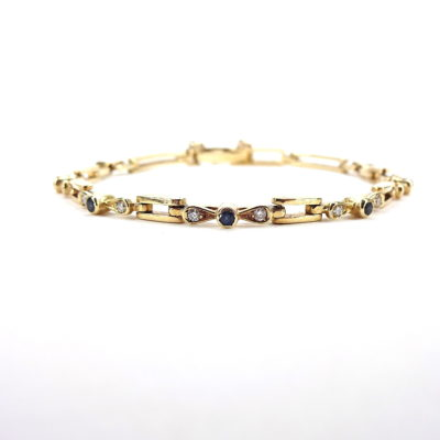 Michael Moses Vault, Newport Beach Jewelry Store, 14k Yellow Gold Diamond/Sapphire Bracelet