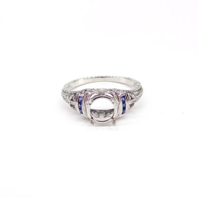 Michael Moses Vault, Newport Beach Jewelry Store, 18k white Gold Sapphire Semi-Mounting