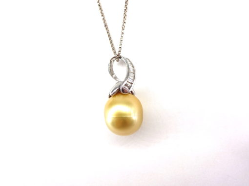 Michael Moses Vault, Newport Beach Jewelry Store, 14k White Gold Cultured Pearl/Diamond Pendant