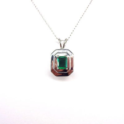 Michael Moses Vault, Newport Beach Jewelry Store, 14k White Gold Emerald Pendant and Chain
