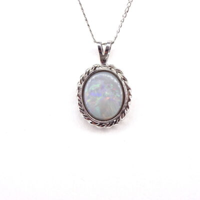 Michael Moses Jewelers, Newport Beach California Jewelry, 18k white Gold Opal Pendant and Sterling Silver Chain