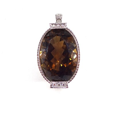 Michael Moses Vault, Newport Beach Jewelry Store, 18k White Gold Smokey Quartz/Diamond Pendant