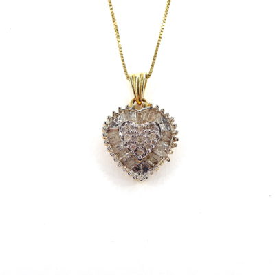 Michael Moses Vault, Newport Beach Jewelry Store, 14k Yellow Gold Diamond Heart Pendant