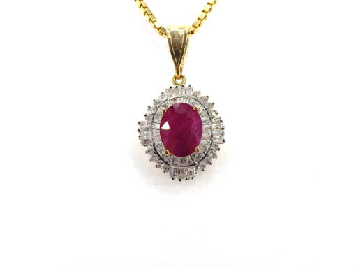 Michael Moses Vault, Newport Beach Jewelry Store, 14k Yellow Gold Ruby/Diamond Pendant and Chain