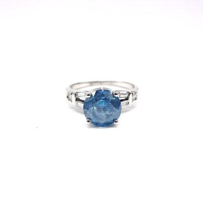 Michael Moses Vault, Newport Beach California Jewelry Store, 14k White Gold Irradiated Blue Diamond Ring