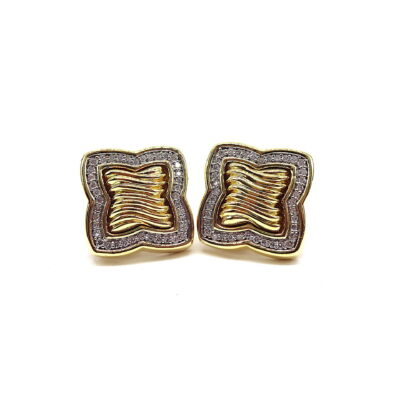 Michael Moses Vault, Newport Beach California Fine Jewelry Store, David Yurman 18k Yellow Gold Diamond Earring Set