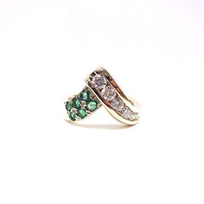 Michael Moses Vault, Newport Beach Fine Jewelry Store, 14k Yellow Gold Emerald/Diamond Ring