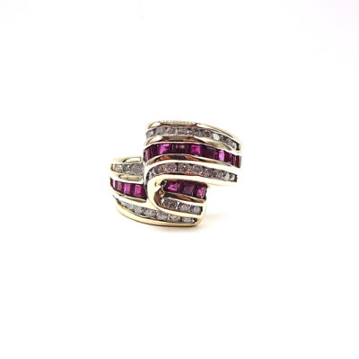 Michael Moses Vault, Newport Beach Fine Jewelry Store, 14k Yellow Gold Ruby/Diamond Ring