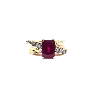 Michael Moses Vault, Newport Beach California Fine Jewelry Store, 10k Yellow Gold Ruby Diamond Ring