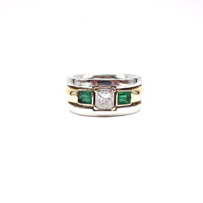 Michael Moses Vault, Newport Beach Fine Jewelry Store, Two Tone Platinum/18k Yellow Gold Emerald/Diamond Ring