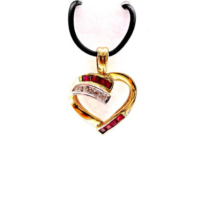 Michael Moses Vault, Newport Beach Fine Jewelry Store, 14k Yellow Gold Plated Ruby/Diamond Pendant