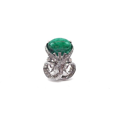 Michael Moses Vault, Newport Beach Jewelry Store, 14k White Gold Emerald/Diamond Ring