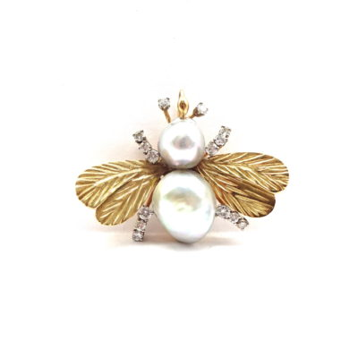 Michael Moses Vault, Newport Beach California Fine Jewelry Store,14k Yellow Gold Mabe Cultured Pearl Diamond Bee Brooch