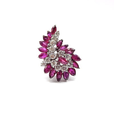Michael Moses Vault, Newport Beach California Jewelry Store, 14k White Gold Ruby/Diamond Ring